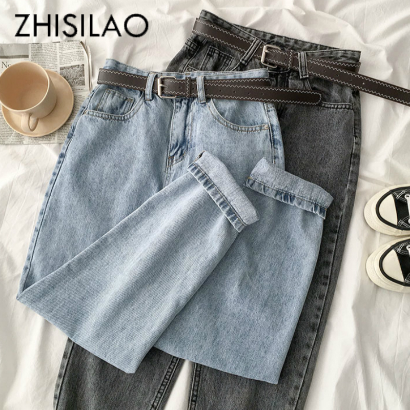 Vintage Straight High Waist Jeans Women Boyfriend Mom Street Denim Jeans With Belt 2020 Loose Plus Size Jeans Mujer Retro