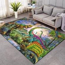 Dinossauro shaggy tapete antiderrapante 3d tapete antiderrapante sala de jantar sala de estar macio criança quarto tapete decoração de casa 016