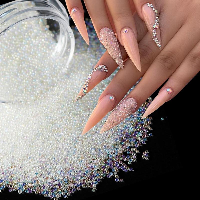 Caviar Perlen Kristall Tiny Strass Für Maniküre Glas Bälle Micro Perle Für Nagel Dekorationen DIY Charme Nail art Zubehör