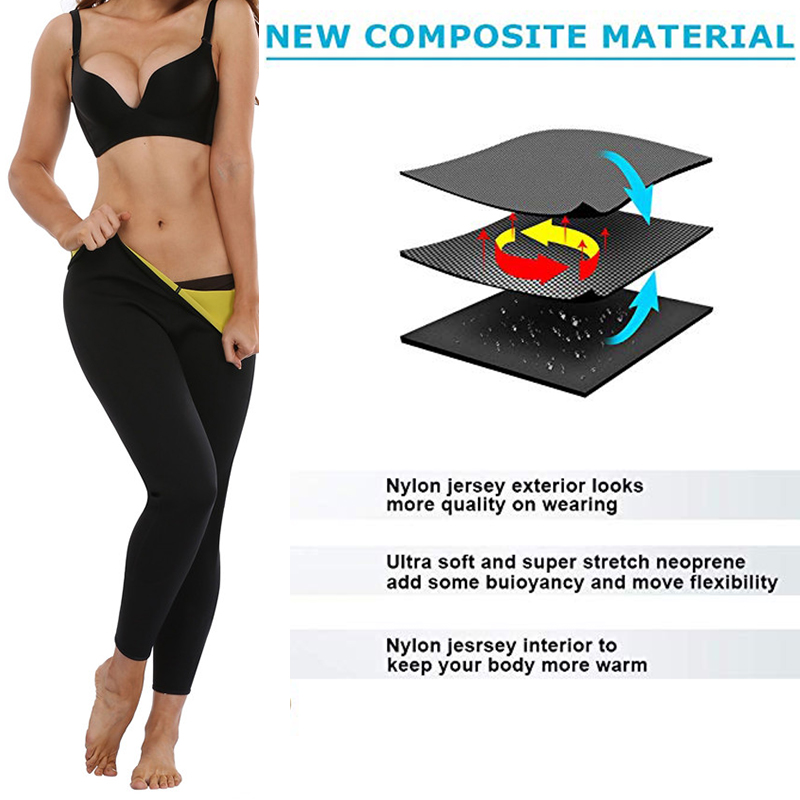 Image 4 - LAZAWG Women Sauna Weight Loss Sweat Shirts Fashion Design Slimming Neoprene Hot Body Shaper Leggings Suits Hot Sweat Pants SetsControl Panties   -