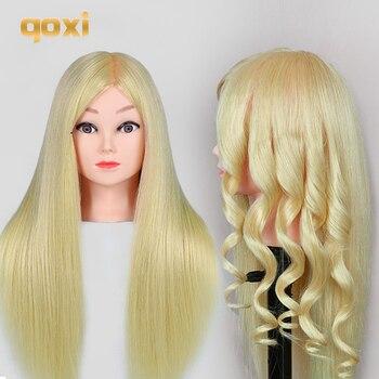 Qoxi Professionelle ausbildung köpfe mit 80% echte menschliche haare kann gekräuselt werden praxis Friseur mannequin make-up Styling puppen