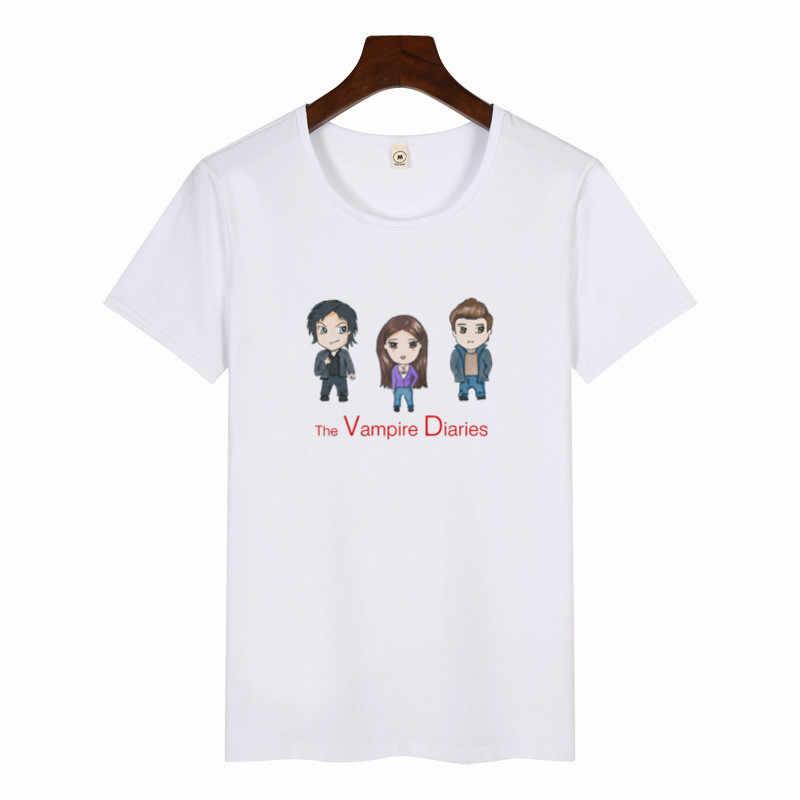 Kadın Vampir Günlükleri T-Shirt Kızlar Moda Kısa Kollu Baskı T Shirt Kadın Karikatür Grafik Tees Kadın Harajuku Tops
