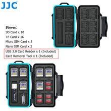 JJC Durable Speicher Karte Fall Halter Storage Box für SD SDHC SDXC Micro SD MicroSD TF Micro SIM Nano SIM karten Veranstalter Brieftasche