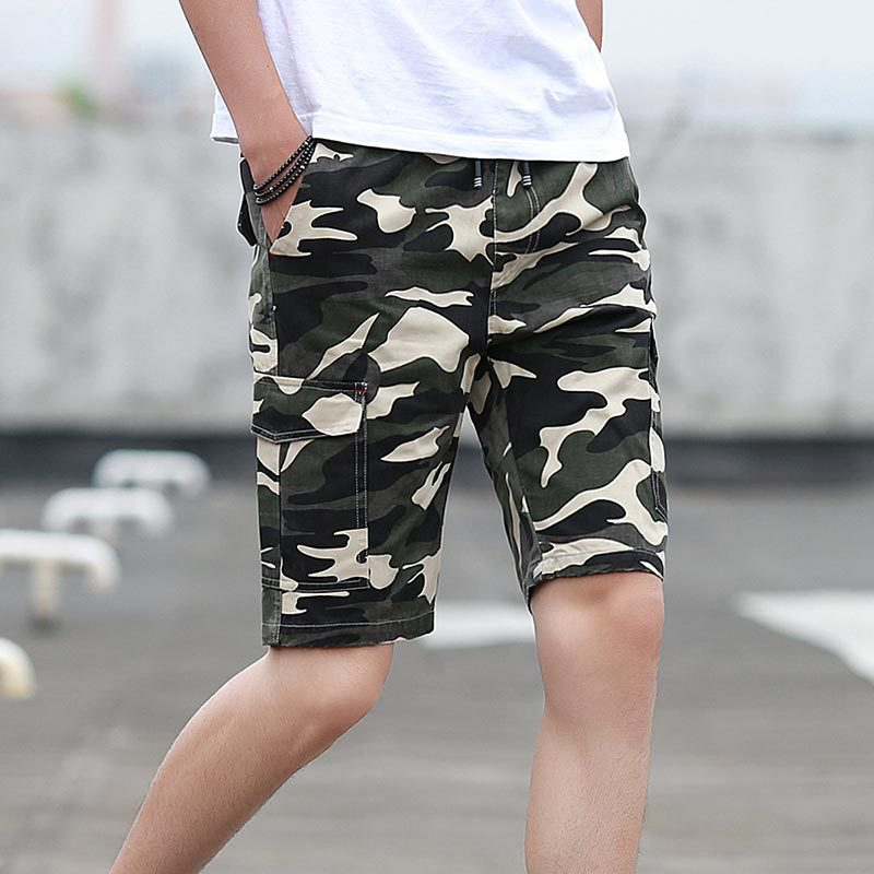 2019 Summer MEN'S Shorts Sports Casual Short Cotton-padded Trousers Popular Brand Camouflage Bib Overall Loose-Fit Beach Pants M