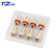 8 adet 4 renk RCA Jack konnektörü rodyum/altın kaplama bakır fişler ses paneli RCA dişi soket şasi CMC ses/Video adaptörü