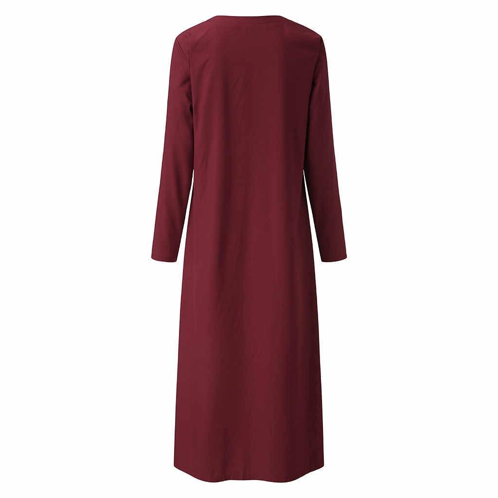 Kobiety na co dzień sukienka długa sukienka w dużym rozmiarze moda damska z dekoltem w serek jesień długi z długim rękawem guzik do koszuli luźna długa sukienka sukienka # g3
