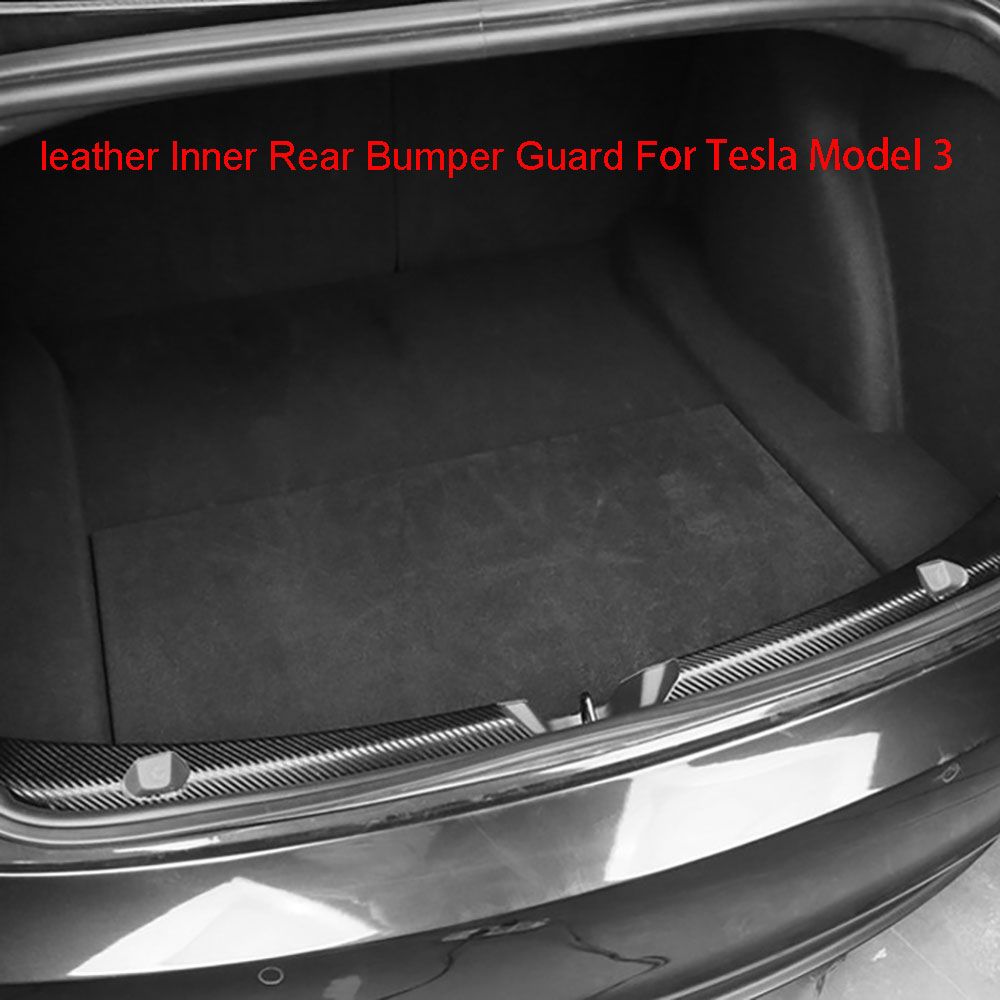 For Tesla Model 3 17-20 Carbon Fiber leather Inner Rear Bumper Guard Sill Plate