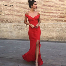 Verngo Mermaid Evening Dress Sexy Evening Dresses Long Simple Formal Dress Party Red Stain Prom Gown Slit  vestidos elegantes