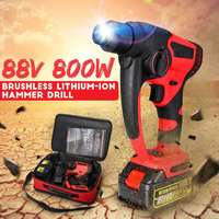 88v 800w 10000mAh Electric Hammer Brushless Cordless Lithium Ion Hammer Drill with 1 or 2 Battery Tools