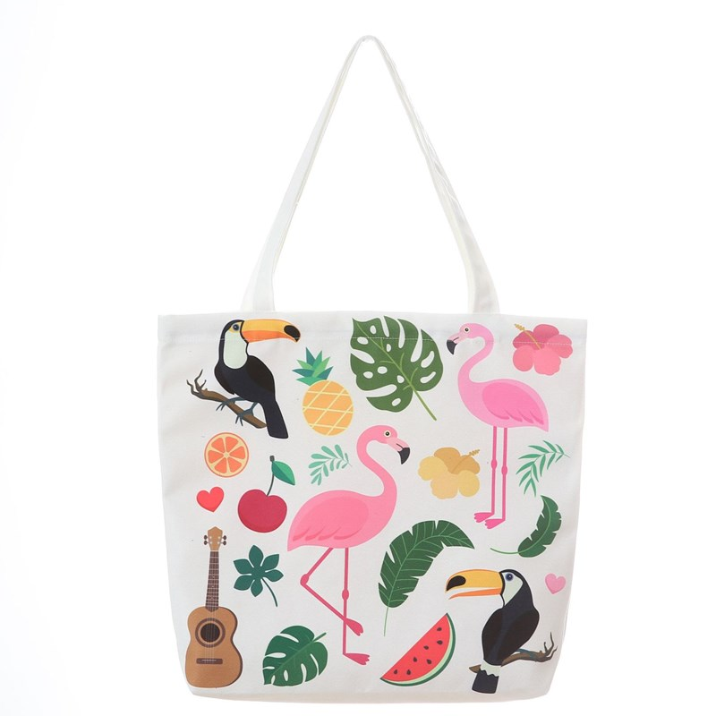 Flamingo Women Package Zipper Canvas <font><b>Bag</b></font> Handbags <font><b>Japanese</b></font> Literary Shoulder <font><b>Bags</b></font> Casual <font><b>Shopping</b></font> Tote Girls Handbag 35*40cm image