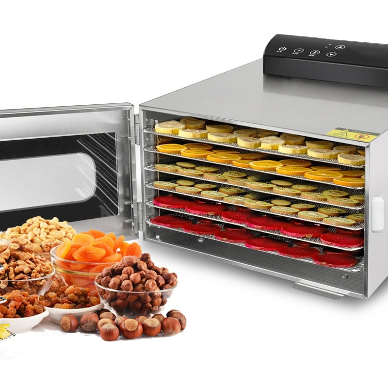110V 220V 6 Trays Food Dehydrator Stainless Steel Snacks Dehydration Dryer Fruit Vegetable Herb Meat Drying Machine EU/AU/UK/US