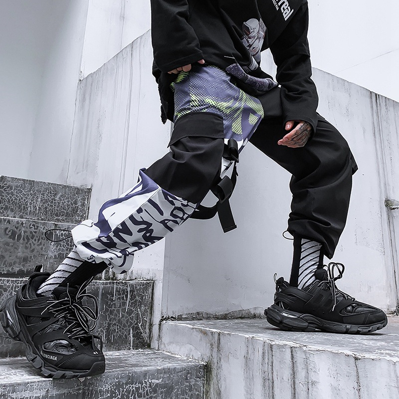 Black Ribbon Camouflage Patchwork Cargo Jogger Pants 1