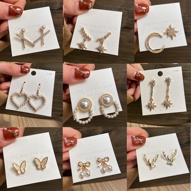 17KM Korean Cute Rhinestone Earrings For Women Fashion Cross Moon Heart Pearl Earrings Deer Butterfly Dangle Earrings Jewelry