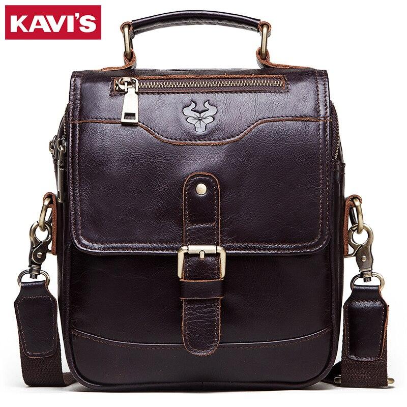 KAVIS 100% Genuine Leather Men Messenger Bags Shoulder Bag Male Handbag Business Crossbody Bolsos High Quality Famous Sling Sac