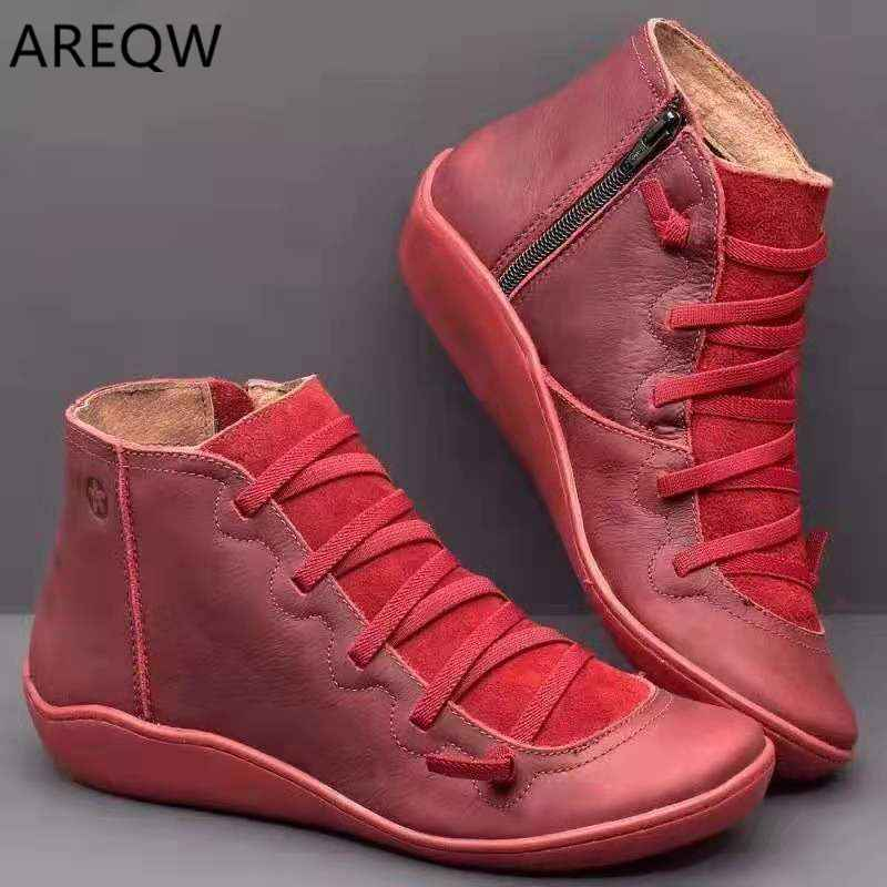 PU Leather Ankle Boots Women Cross Strappy Women's Vintage Women Punk Boots Flat Ladies Shoes Woman Botas Mujer Plus Size 35-43