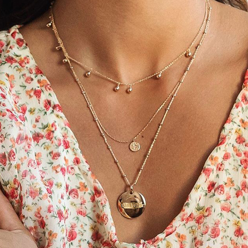 17KM Geometric Map Pendant Necklace For Women Fashion Gold Multilayer Star Moon Circle Necklaces Set Beads Choker Jewelry