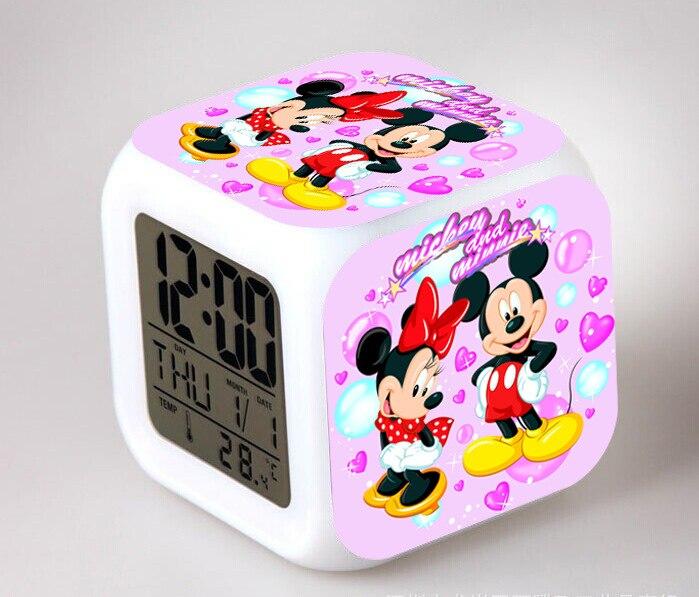 Mickey minnie mouse figuras de ação brinquedo despertador com led toque luz pvc modelo brinquedo para o miúdo estudante presente aniversário festa fornecimento