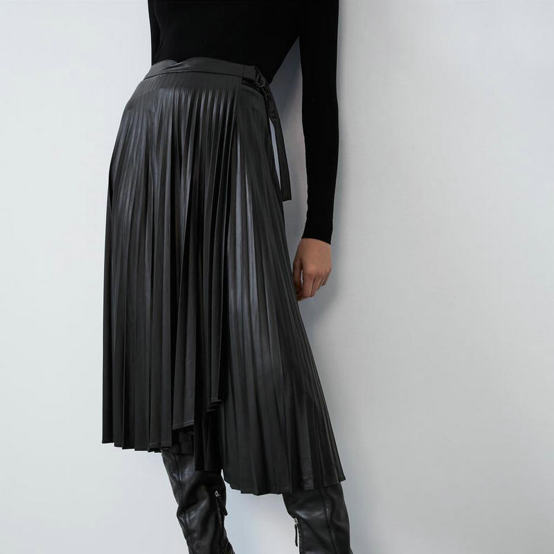 2019 New Autumn Winter Women Vintage High Waist Pleated Fake Faux Leather Skirts Lady Bow Chic Black Mid-Calf Long Street Skirt