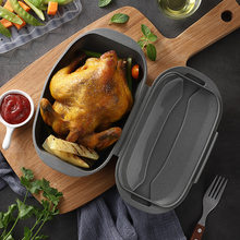 New product Food grade silicone steamed fish bowl Roast Chicken Kitchen Light Gray
