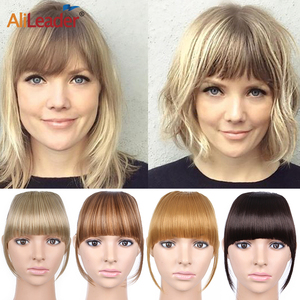 Alileader New Blunt Bangs Soft Light Synthetic Hair Bangs Clip On Hair Style Extensions False Fringe More Durable Straight Bang