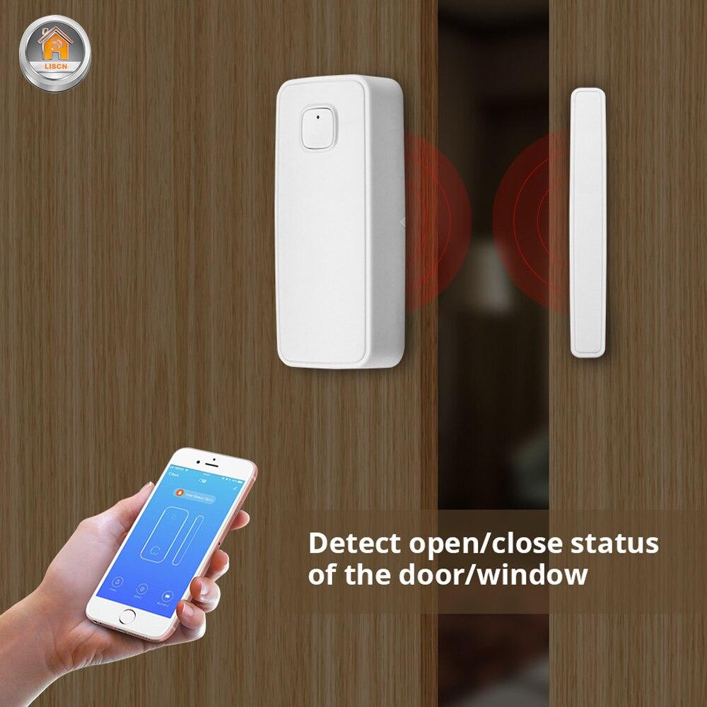 WiFi Wireless Door Window Tuya Sensor Smart Detector Security Via App Control Amazon Alexa Google Home Voice Smart Home System