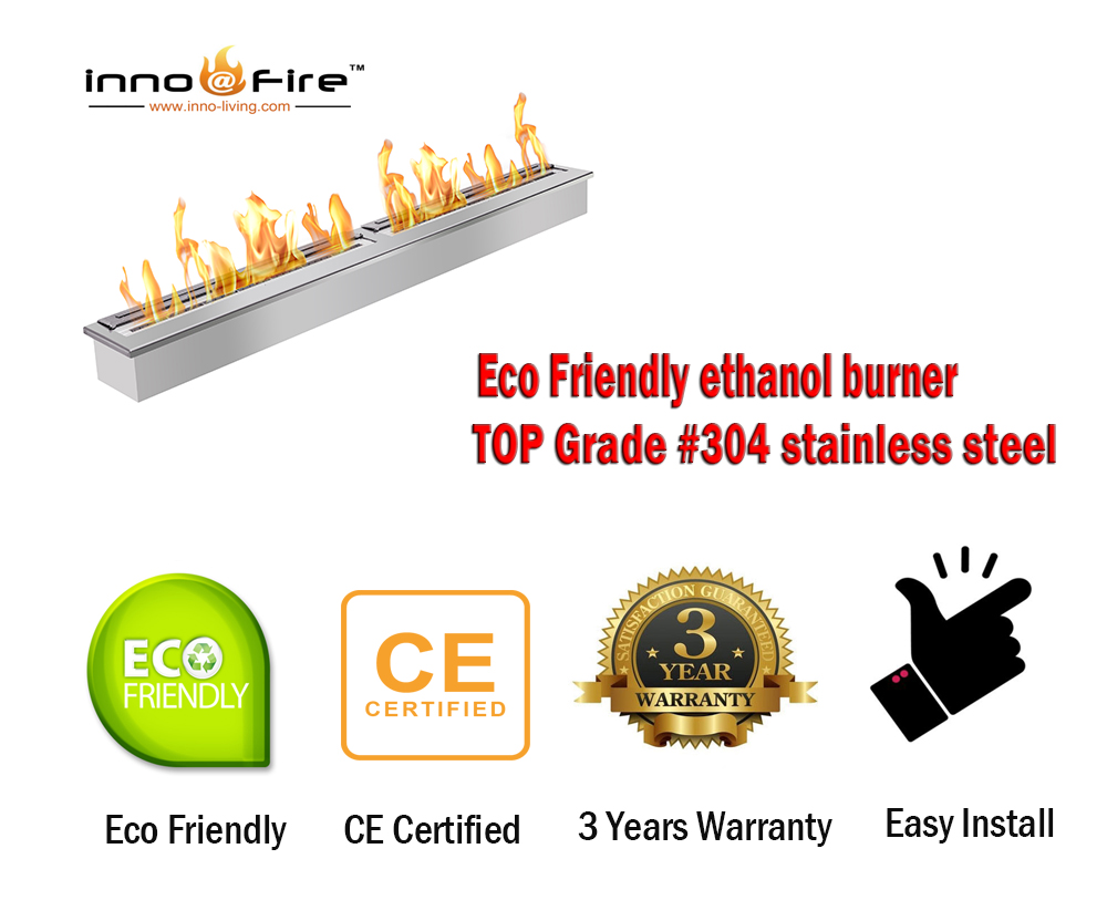 Inno Living Fire 24 Inch Fire Bioethanol Stainless Steel Indoor Fireplace