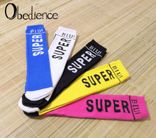 2019 new childrens tide socks boys and girls SUPER letters in the tube cotton pile straight