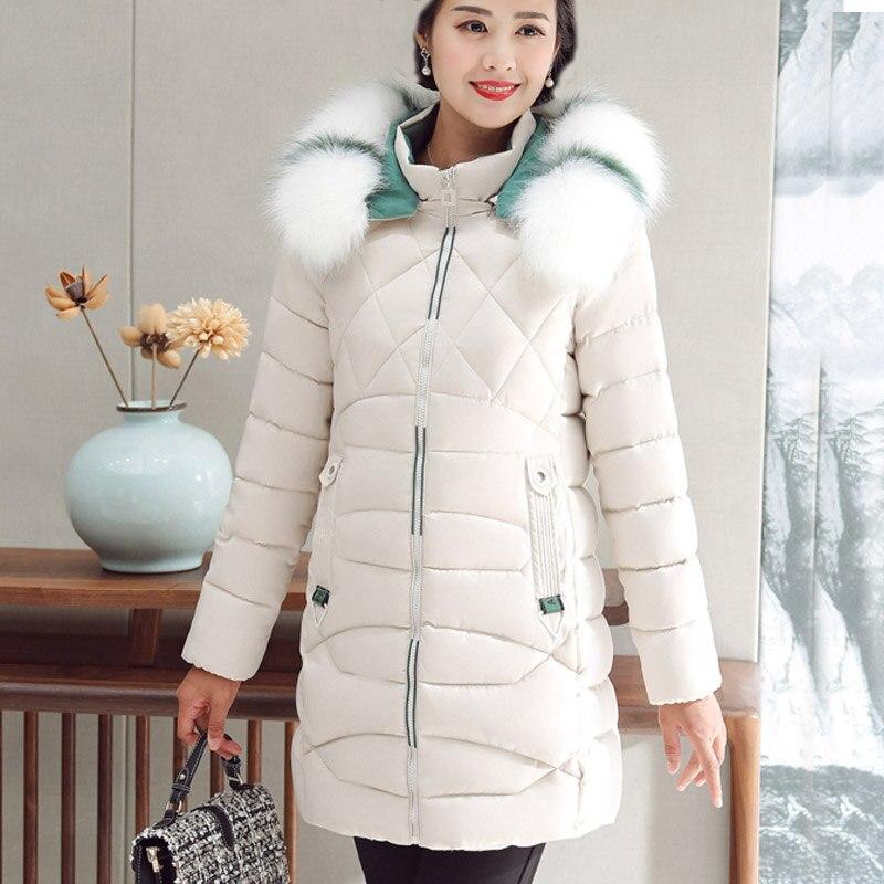 Women's winter jacket Artificial large fur collar female jacket slim cotton-padded long jacket outerwear winter coat   parka