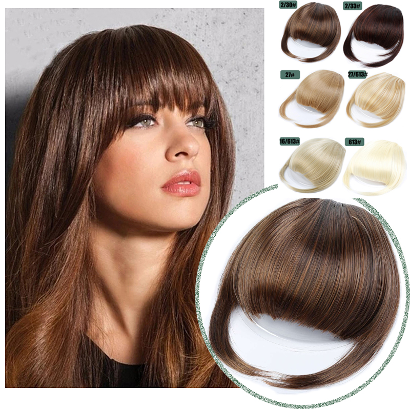 Синтетические накладные челки для наращивания волос, накладные бахромы для женщин, натуральные воздушные челки на клипсах, 24 цвета