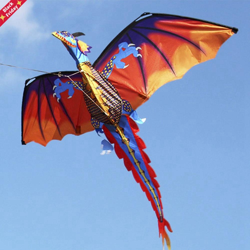 47x55 inch Large 3D Cartoon Dragon Kite Pterosaur Dinosaur Flying Kites With Tail 328ft Kite Line for Kids Adults Outdoor Sports