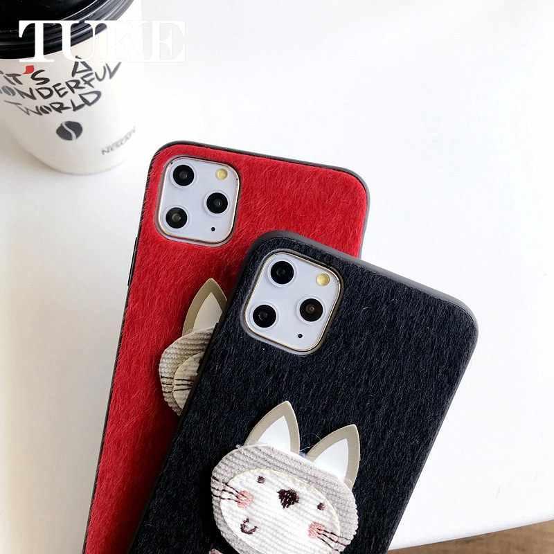 OPPO için R9S artı durumda Villus gülümseme kürk peluş telefon kılıfı 3D kış sıcak kürk kürklü kapak kılıfları için OPPO F3 artı