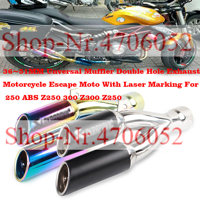 Muffler Laser-Marking Moto Motorcycle-Escape Unversal Z250 Double-Hole Exhaust 36--51mm