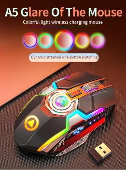 e 3lue m668 optical gaming mouse black blue Wireless Mouse 1600dpi Rechargeable Mute Gaming Mouse RGB Breathe Backlight Optical Mouse Electroplated Laptop Computer Mouse