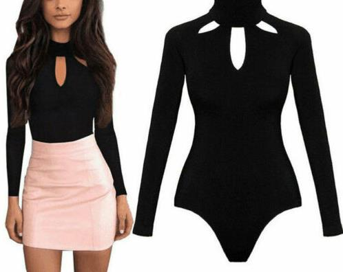 Sexy Women's Turtle Neck Long Sleeve Elastic Skinny Jumpsuit Bodycon Skinny Short High Top Jumpsuit Briefs Short Jumpsuit