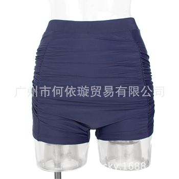 2020 Bathing Suit Hot Selling High-waisted Pleated Sapphire Blue Large Size Swimming Trunks