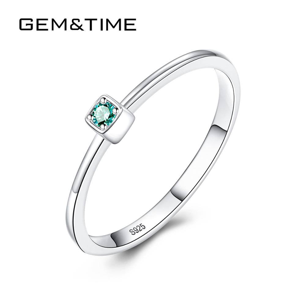 Gem&Time Delicate Stackable Green Topaz Finger Rings For Women Charm Thin Ring Gem Wedding Band Finger Jewelry Anniversary Gift