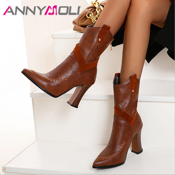 ANNYMOLI Super High Heel Ankle Boots Woman Boots Block Heel Short Boots Zip Pointed Toe Female Shoes Autumn Winter Black Size 46 black ankle boots for women chunky boots high heel autumn winter pointed toe booties woman fashion zipper black boots 2019