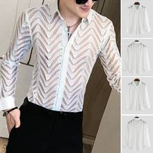 INCERUN Fashion Men Long Sleeve Lace Shirt See Through Button Party Nightclub Mesh Shirts Men Breathable Sexy Blouse Camisa 5XL butterfly sleeve button through crop blouse