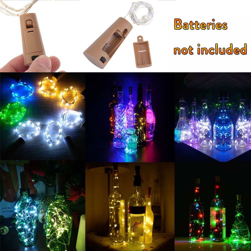 10 20 30 LED 1M 2M 3M Cork Shaped Silver Copper Wire String Fairy Light Wine Bottle For Glass Craft Christmas DIY Party Decor