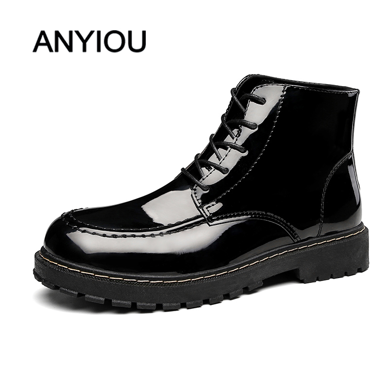 ANYIOU British Style Martin Boots Fashion Warm Men's Boots Man Shoes Men's Winter Sneakers Smooth Shoes Shoelace Size 39-44