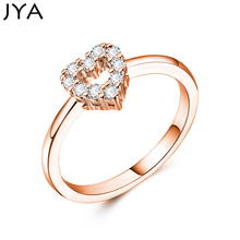 Cpop Trendy Heart Zircon Ring for Women Rose Golden Plated Hollow Out Heart Rhinestone Engagement Ring Fashion Accessories rhinestone engagement hollow out ring