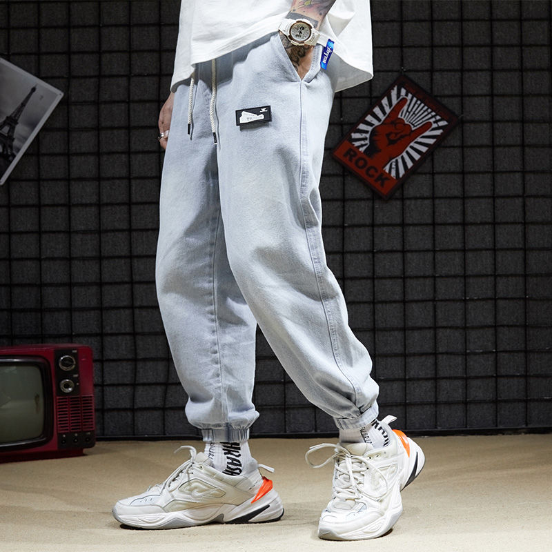2020 Retro Jeans Male Loose Student Korean Version Of Boys Leggings Wide-legged Pants Men's Nine-point Pants