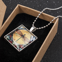 Yellow Moon Dragonfly Art Cabochon Glass Tile Chain Pendant Necklace Silver Statement Pendant Necklace Christmas Gift