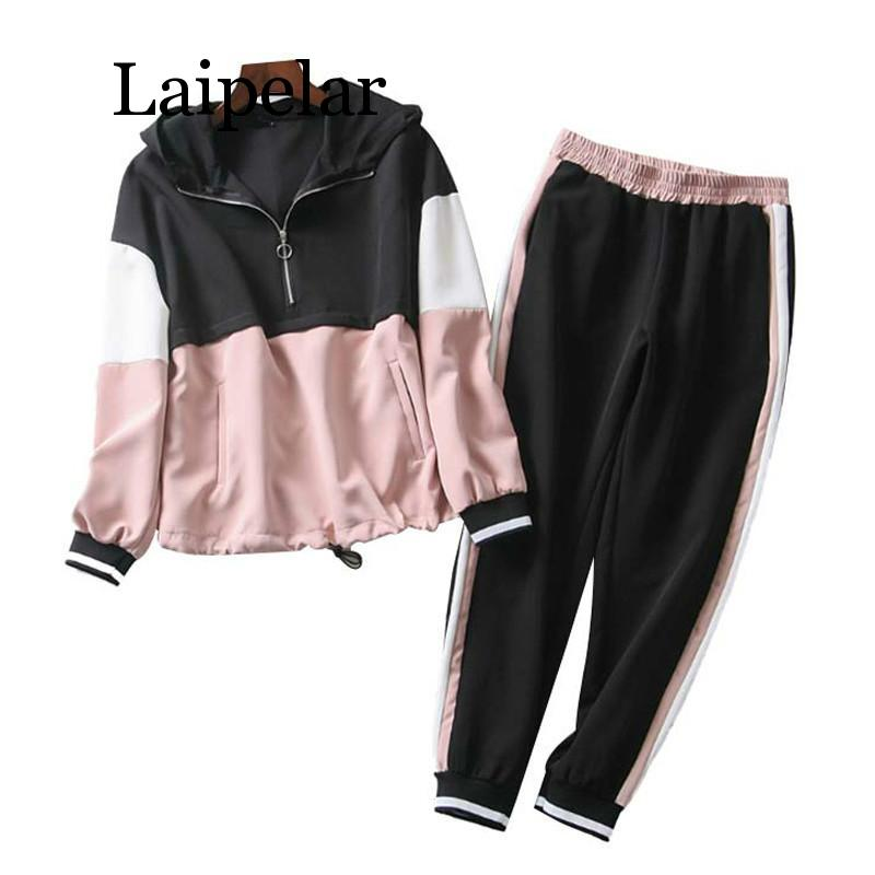 Laipelar Patchwork Two Piece Set Outfit Women 2019 Spring-Autumn Hooded Bomber Jacket Set Ladies Joggers Set Girls Loose Hoodies