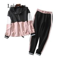 Laipelar Patchwork Two Piece Set Outfit Women 2019 Spring Autumn Hooded Bomber Jacket Set Ladies Joggers Set Girls Loose Hoodies