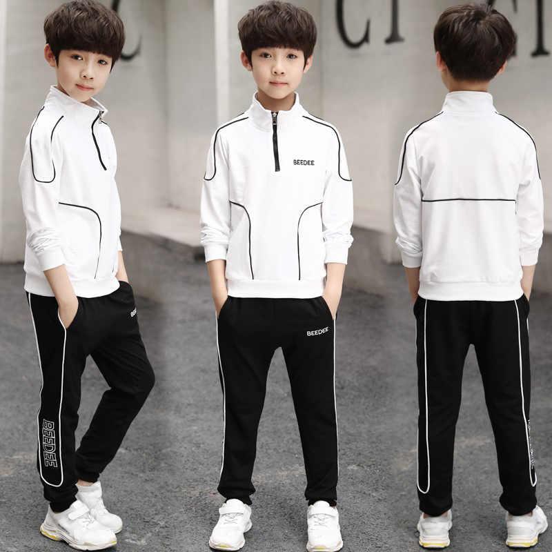 Kids Boys 2pc Clothes Set Fashion Line Decoration Jacket Coat and Trousers  for Children Black White 4 14 Teens Boy Clothing Sets Clothing Sets  -  AliExpress