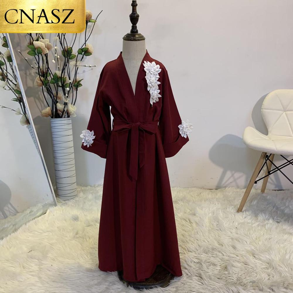 2020 Hot Sell Kids Design Fashion Flowers Muslim Dresses Islamic Arab Abaya For Kids Clothing Middle East Children Cardigant