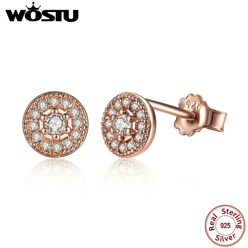 WOSTU 2019 New Arrival 100% Real 925 Sterling Silver Radiant Elegance Stud Earrings For Women Authentic Original Jewelry XCHS451