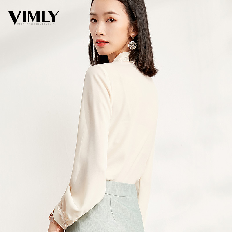 Vimly Women Sweet Bow Tie Blouse Shirt Spring Autumn Ladies Solid Long Sleeve Chiffon Shirts Casual Blouses Vintage Tops Blusas