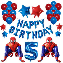 42Pcs 3D Big Spider Super Hero Man Mylar Foil Balloon Number Foil Balloons Birthday Party Decoration Iron Man Children's Gifts